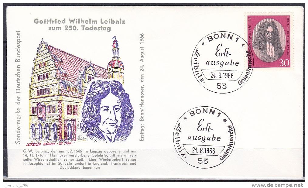 FRG/1966 - Gottfried Wilhelm Leibniz - 30 PF - FDC - [7] Federal Republic