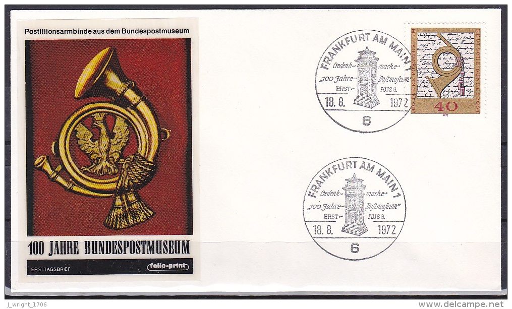 FRG/1972 - Postal Museum Centenary/100 Jahre Postmuseum - 40 Pf - FDC 'FRANKFURT AM MAIN 1' - [7] Federal Republic