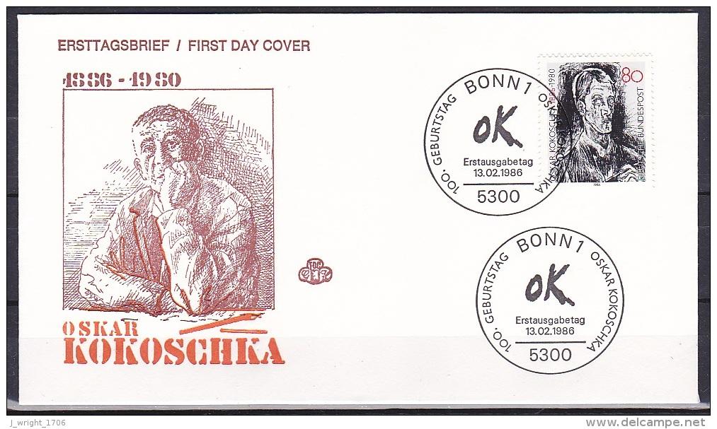 FRG/1986 - Oskar Kokoschka - 80 Pf - FDC - [7] Federal Republic