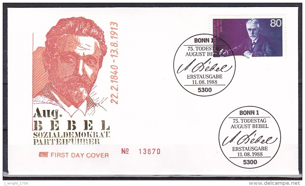 FRG/1988 - August Bebel - 80 Pf - FDC - FDC: Covers