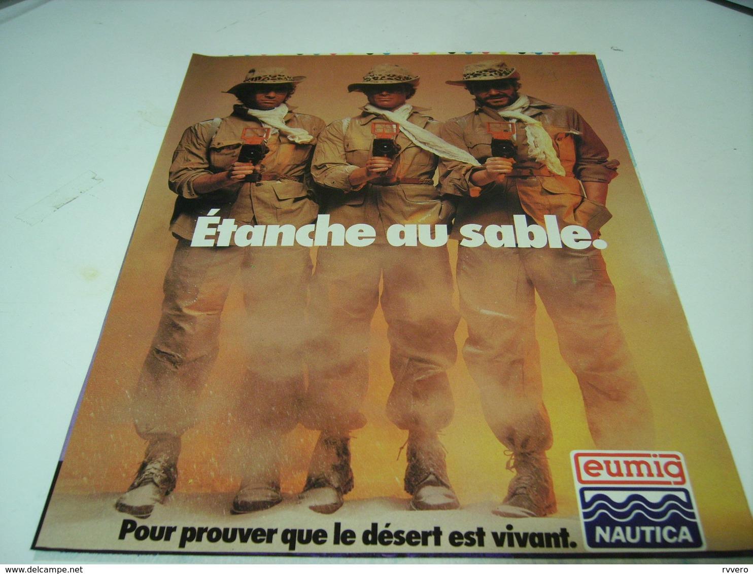 ANCIENNE PUBLICITE  CAMERA ETANCHE AU SABLE EUMIG 1979 - Publicités
