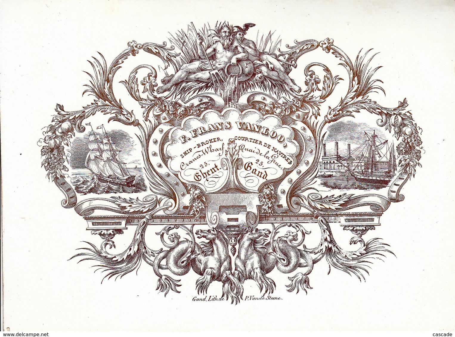 Gent Gand Porseleinkaart Carte Porcelaine,   F. Frans Van Loo, Ship Broker, Courtier De Navires, Cranes - Gent