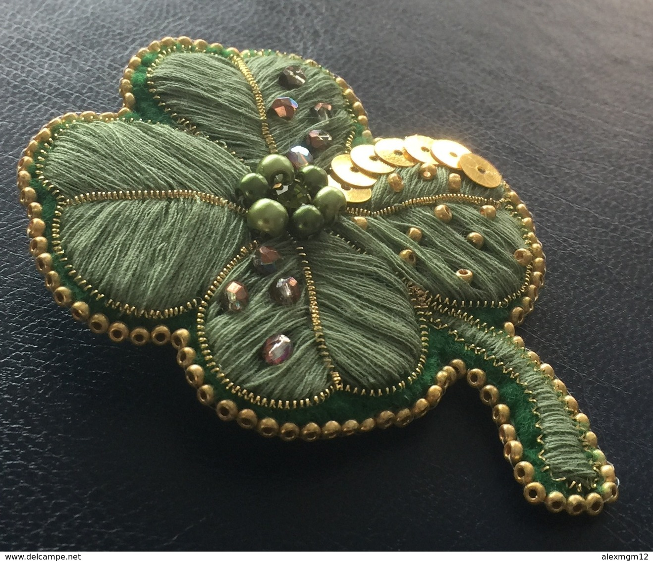 My Lucky Clover, Handcrafted Brooch, Beads Embroidery, Unique, Handmade - Brooches