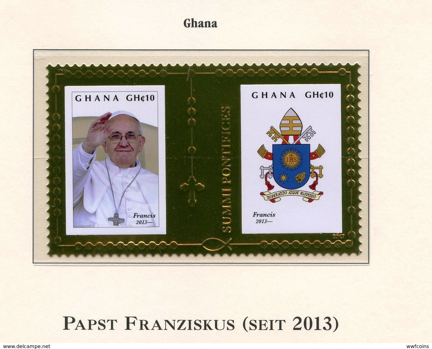 FRANCOBOLLI FOGLIETTI POSTAGE STAMP PAPA FRANCESCO PAPA GHANA 2013 DORATO POPE FRANZISKUS - Papi