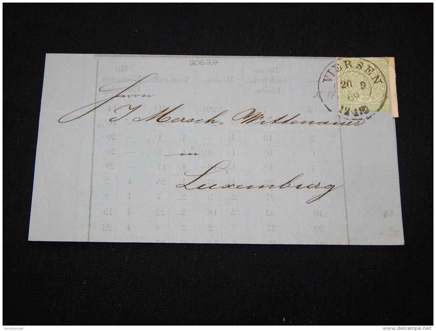 Germany Norddeutscher 1868 Viersen Letter Front To Luxemburg__(L-20627) - Norddeutscher Postbezirk