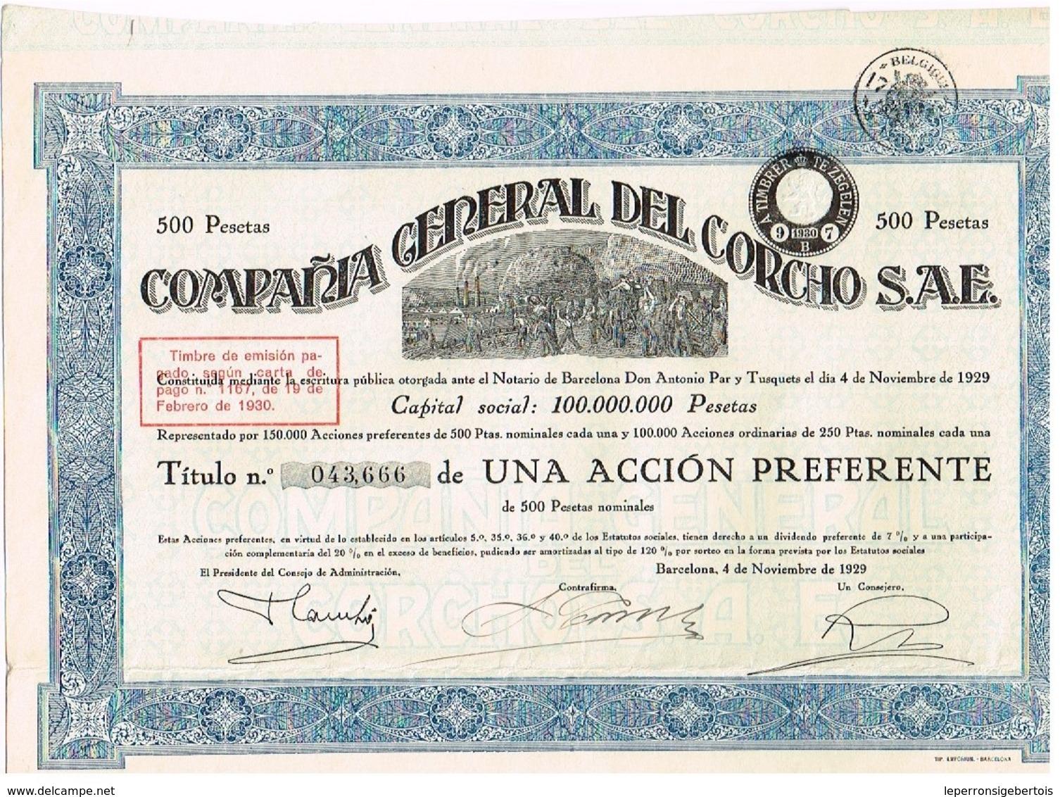 Ancienne Action - Compañia General Del Corcho - Titre De 1929 - N° 043666 - Mines
