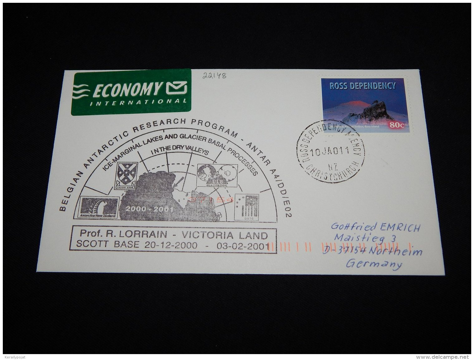 Ross Dependency 2001 Belgian Antarctic Research Program Cover__(L-22148) - Ross Dependency (New Zealand)