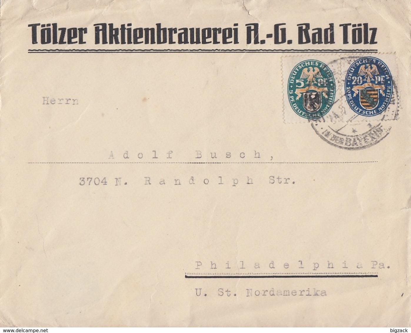 DR Brief Mif Minr.375,377 Bad Tölz Gel. In USA - Briefe U. Dokumente
