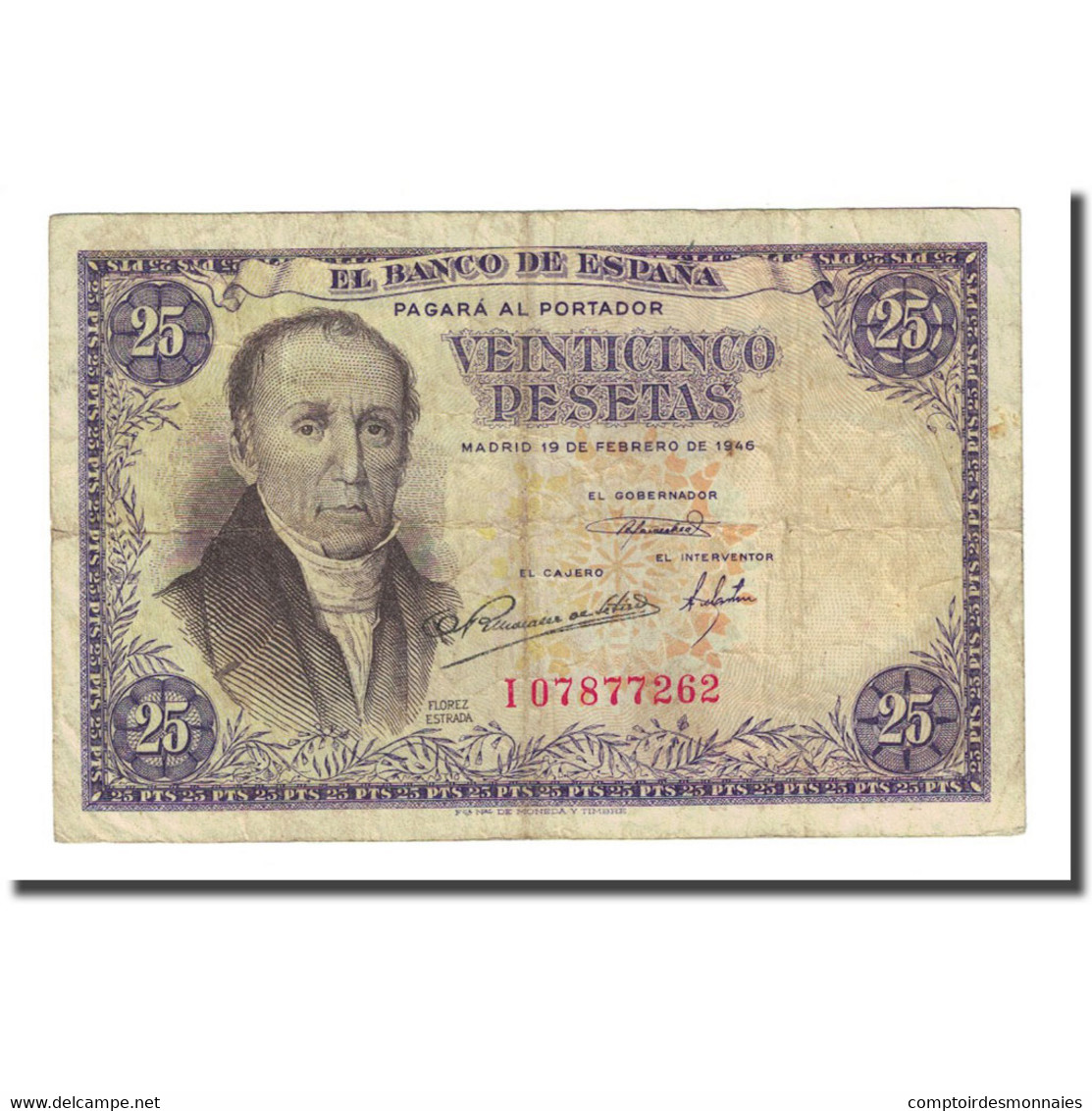 Billet, Espagne, 25 Pesetas, 1946-02-19, KM:130a, TB - 25 Peseten