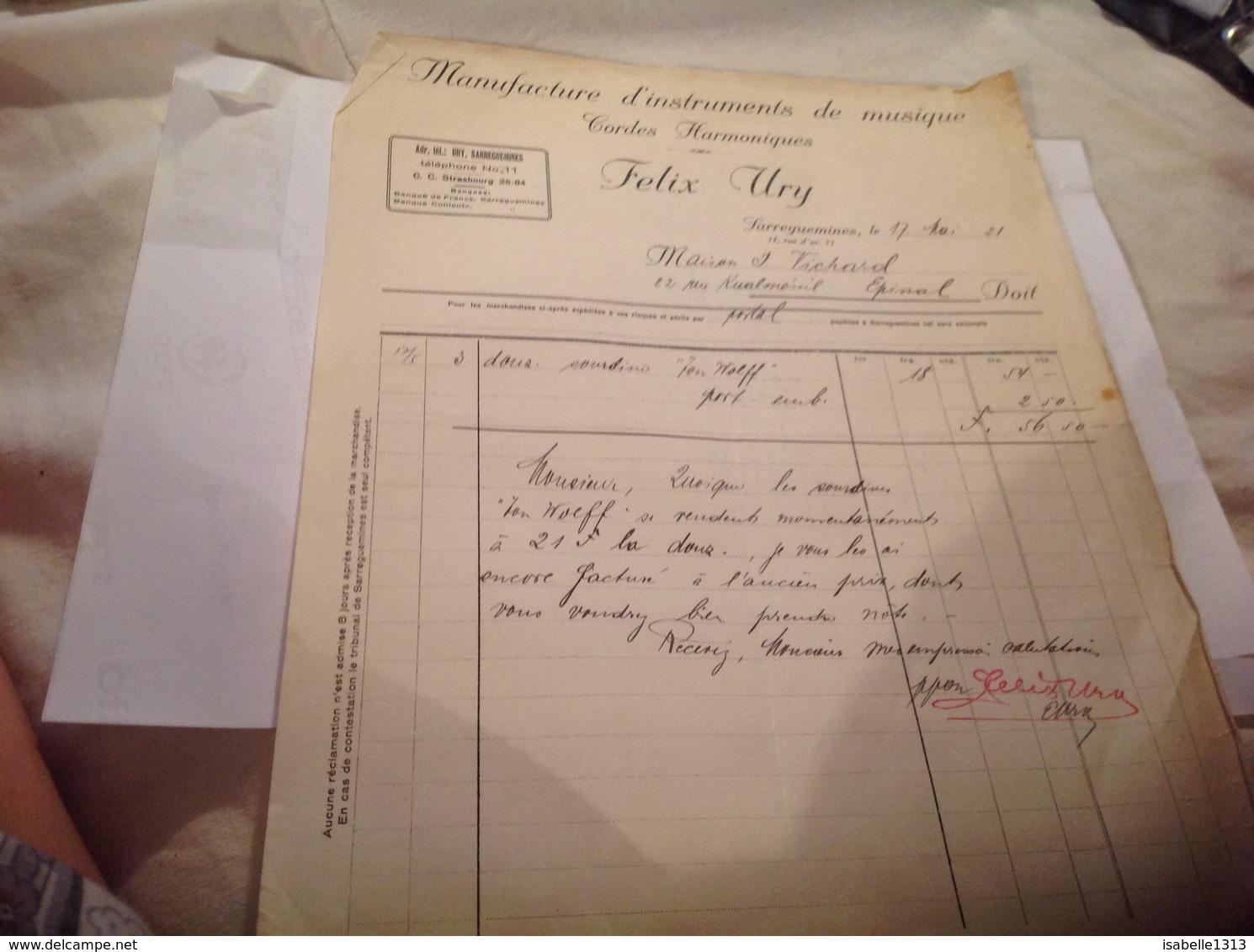 Facture -documents-commerciaux Manufacture D Instruments De Musique Cordes Harmonique Sarreguemines Epinal 1921 - Agriculture