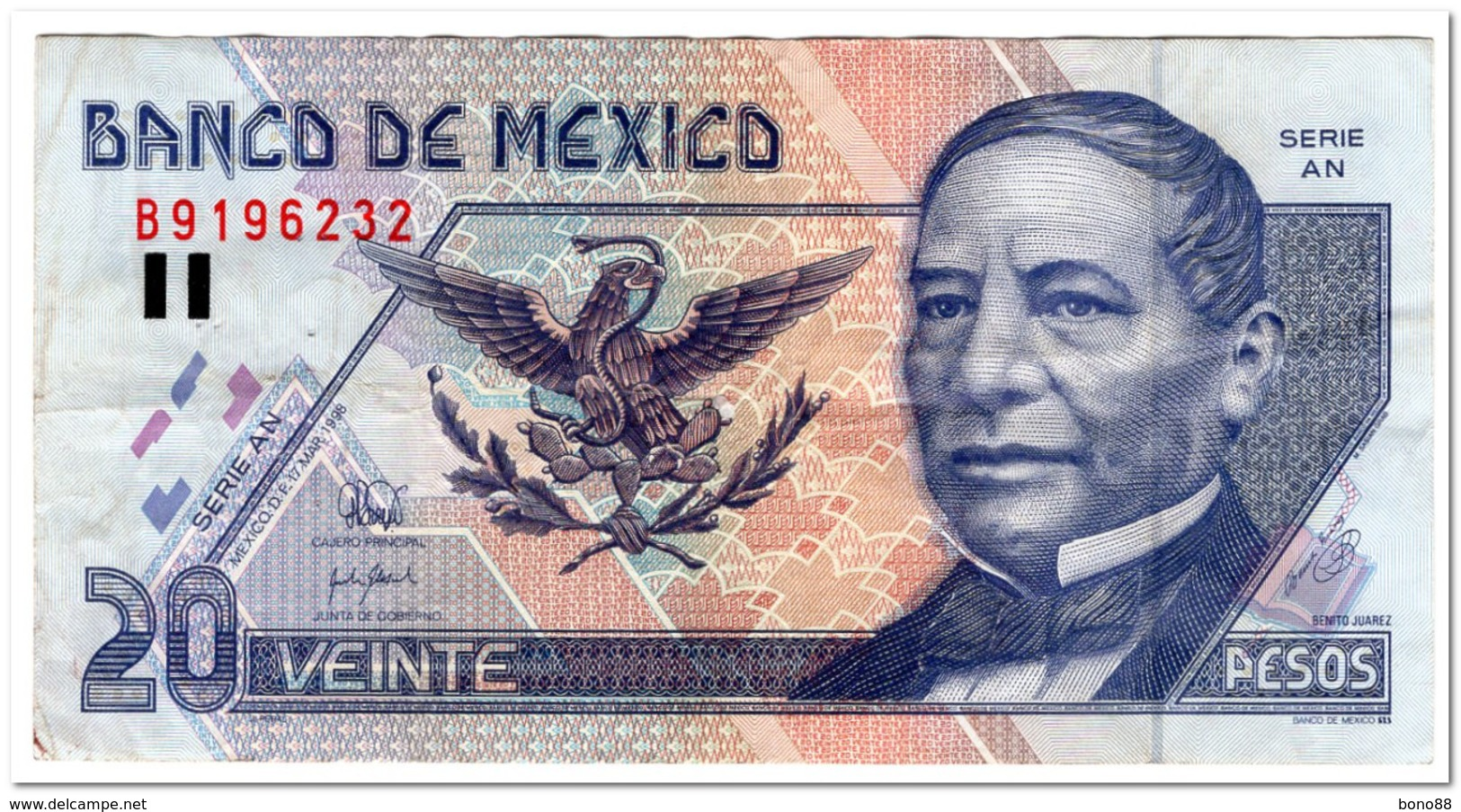 MEXICO,20 PESO,P.106c,,1998,VF,FEW PINHOLES - Mexico