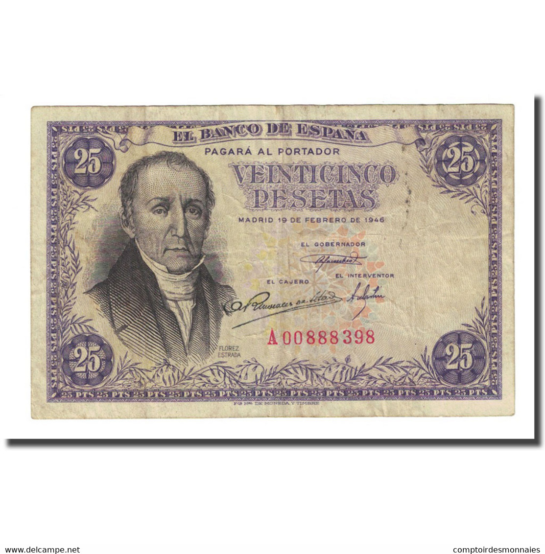 Billet, Espagne, 25 Pesetas, 1946-02-19, KM:130a, TTB - 25 Pesetas