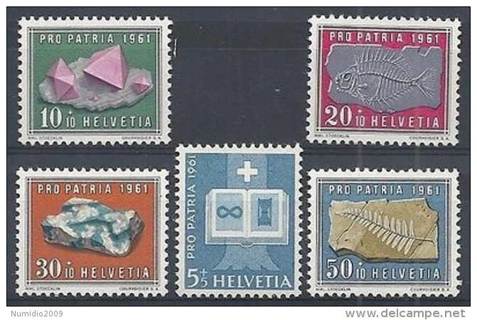 1961 SVIZZERA PRO PATRIA 5 VALORI MNH ** - SZ171 - Pro Patria