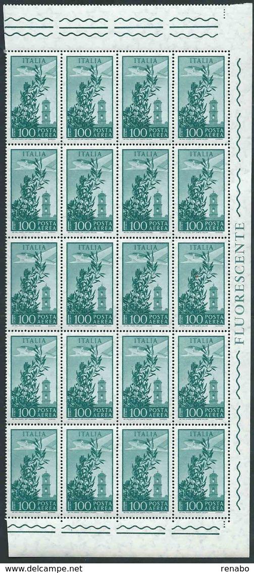 Italia 1971; Posta Aerea Lire 100, Campidoglio Filigrana Stelle. Blocco Di 20 Valori Con Angoli + FLUORESCENTE. - Blocchi & Foglietti