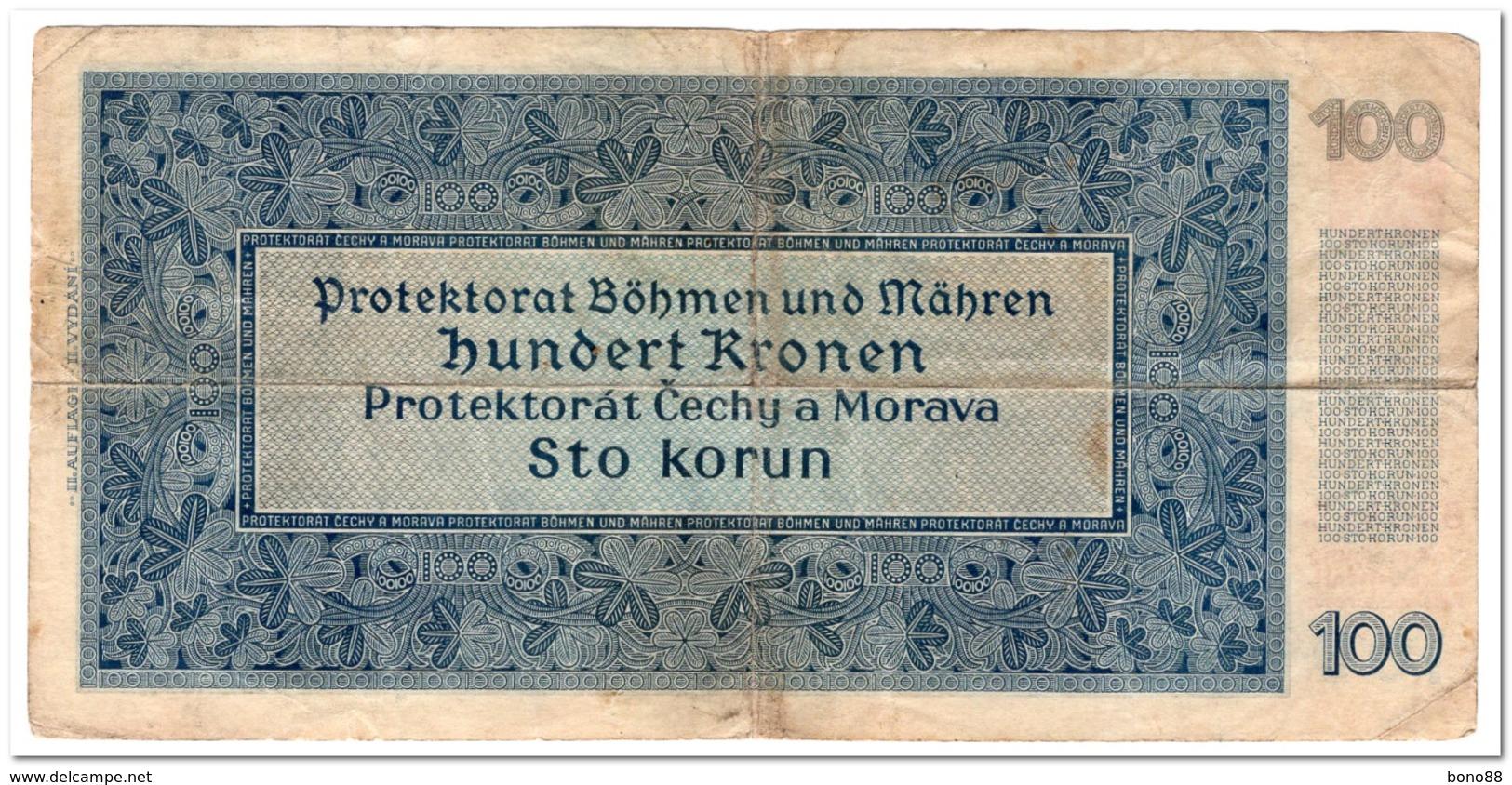 BOHEMIA & MORAVIA,100 KORUN,1940,P.7,F+ - Czechoslovakia