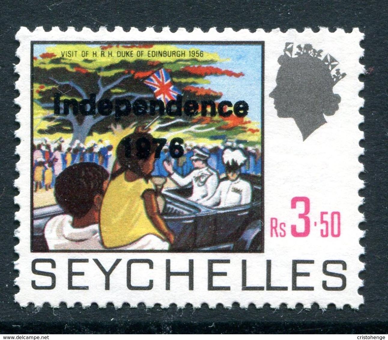 Seychelles 1976 Independence Overprint - 3r50 Visit Of Duke Of Edinburgh - Overprint On SG 276 MNH (SG 378b) - Seychelles (1976-...)
