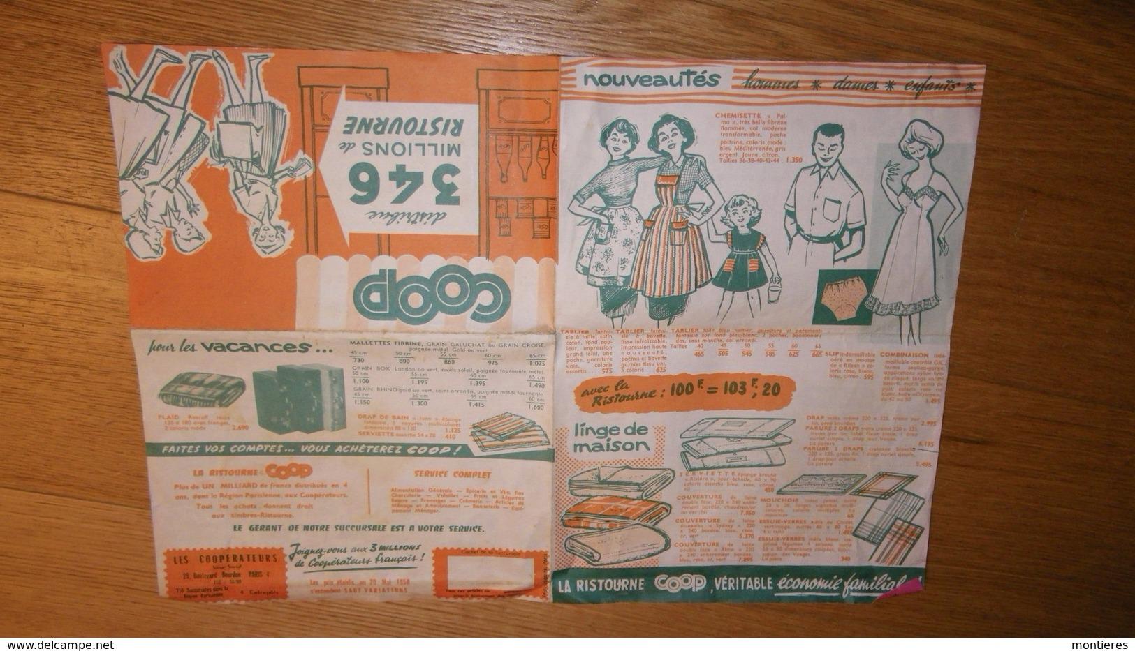 Prospectus 1958 LES COOPERATEURS - La Ristourne COOP Véritable économie Familiale - France