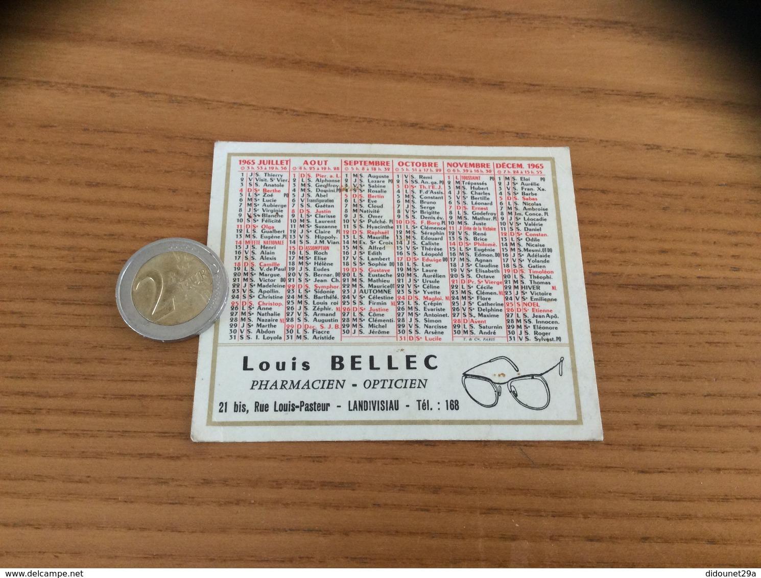 Calendrier 1965 «Louis BELLEC PHARMACIEN OPTICIEN LANDIVISIAU (29) » - Petit Format : 1961-70