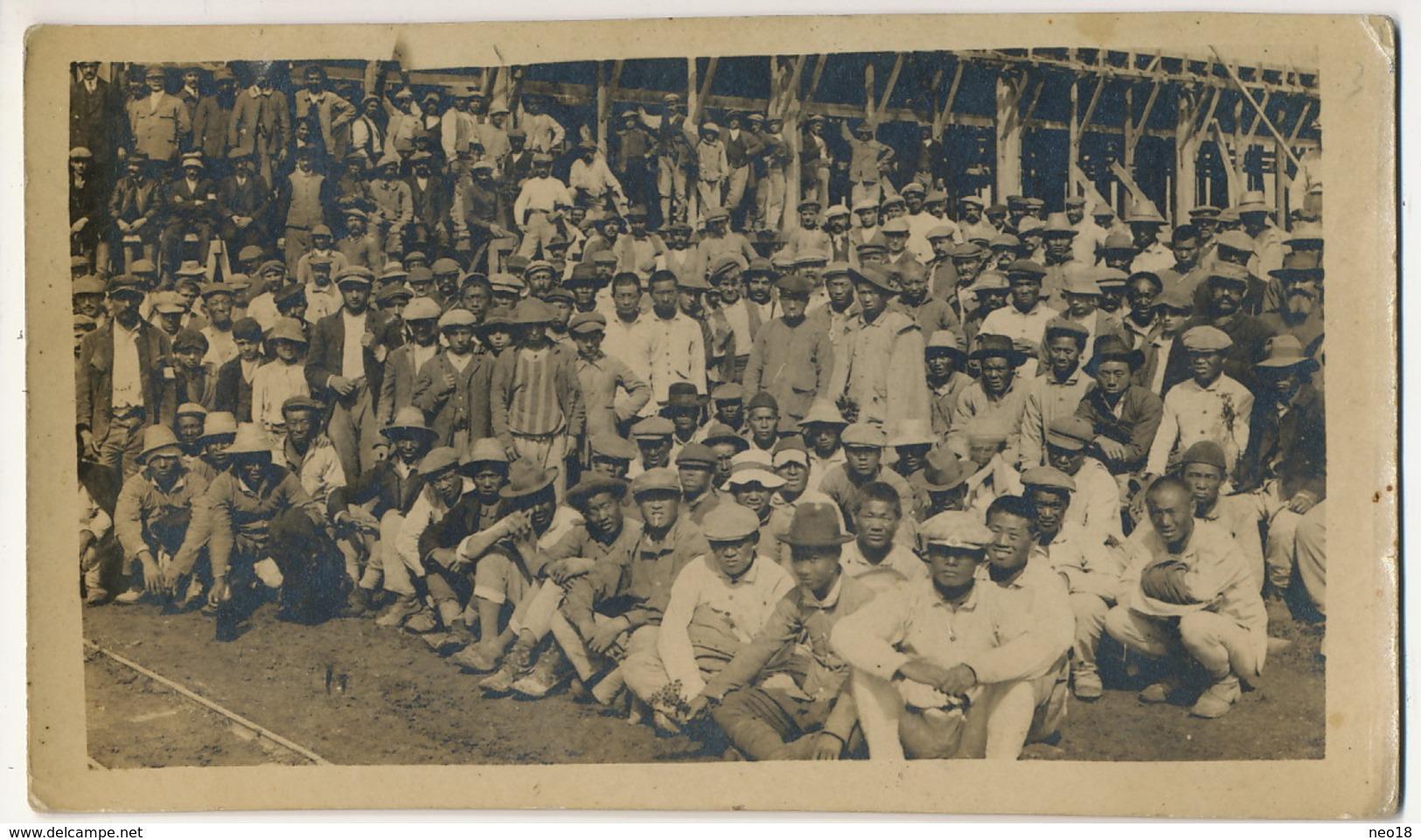 Carte Photo Mondeville Cormelles Caen Construction Pyrotechnie Par Chinois Sept 1917. Chinese Workers Building Factory - France