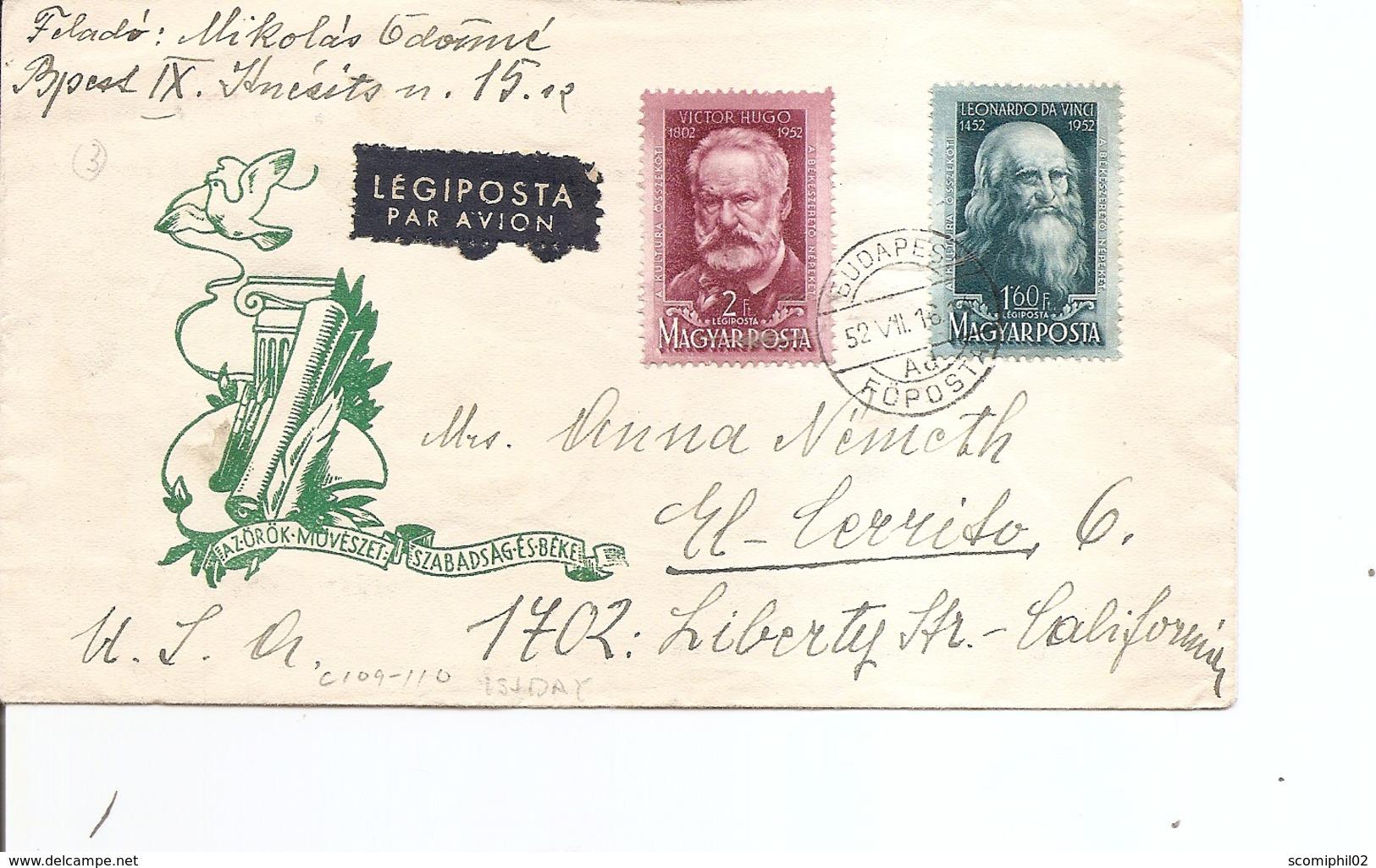 Hongrie ( Lettre Par Avion De 1952 Vers Les USA à Voir) - Covers & Documents