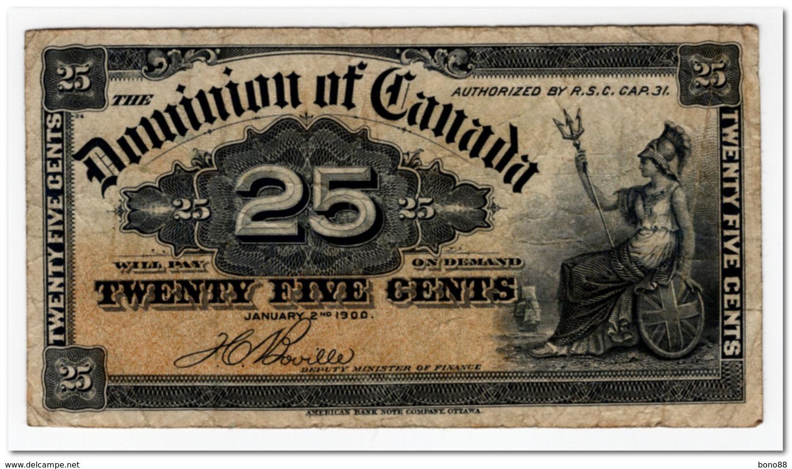 CANADA,25 CENTS,1900,P.9b,F-VF - Canada