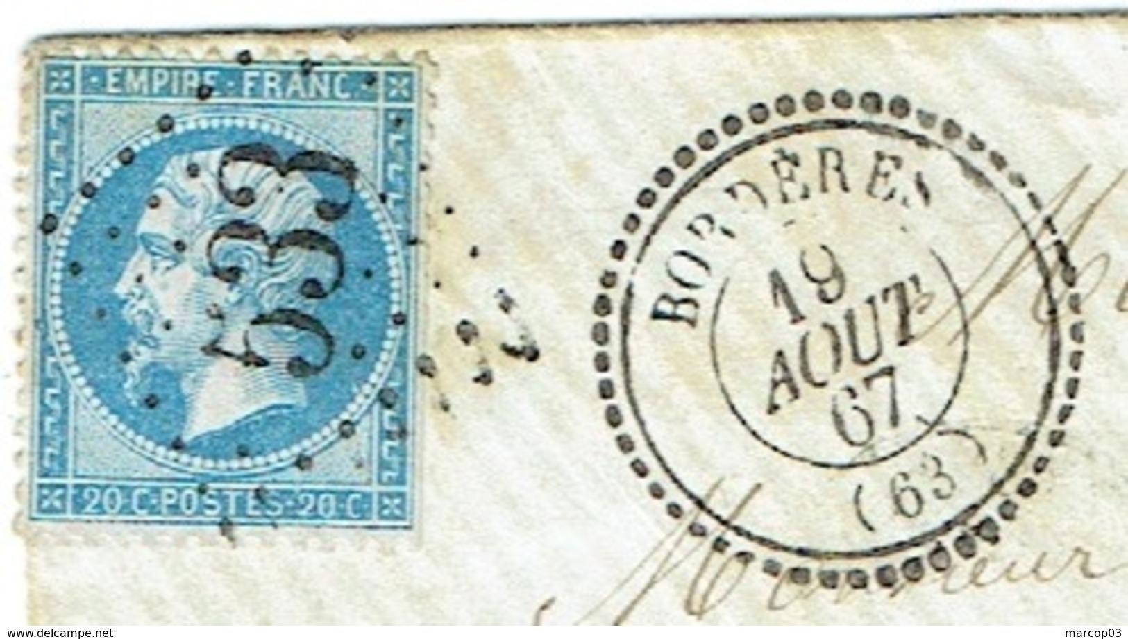 HAUTE PYRENEES 65 BORDERES Enveloppe Avec Texte TAD 22 Du 19/08/1867 GC 533 Sur N° 22 TTB - Postmark Collection (Covers)