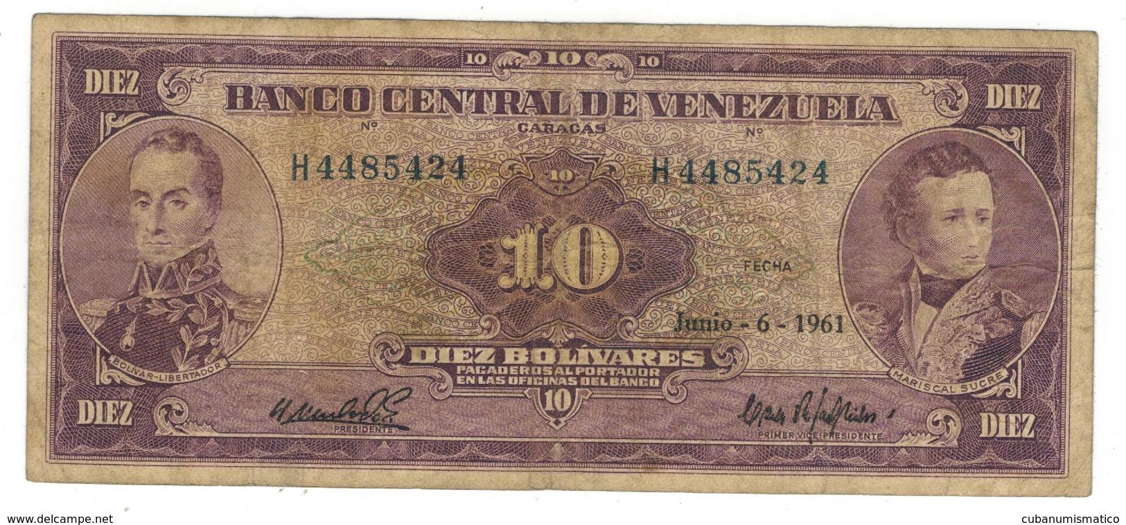 Venezuela 10 Bs 1961, F. Rare. - Venezuela