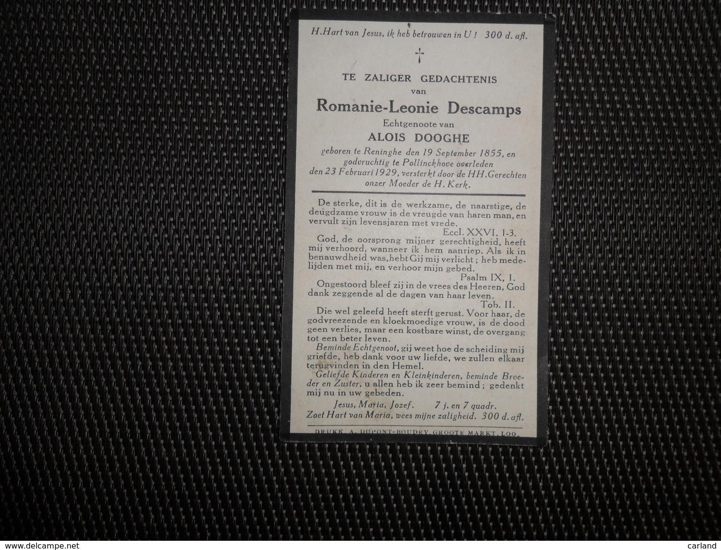Doodsprentje ( C 882 )  Descamps  /  Dooghe  -  Reninghe - Reninge -  Pollinckhove - Pollinkhove   1929 - Décès