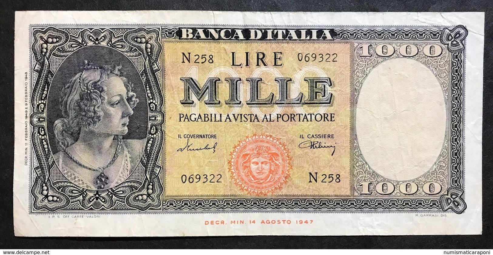 1000 LIRE Italia Medusa 11 02 1949 Raro Bb Naturale LOTTO 519 - 1000 Lire