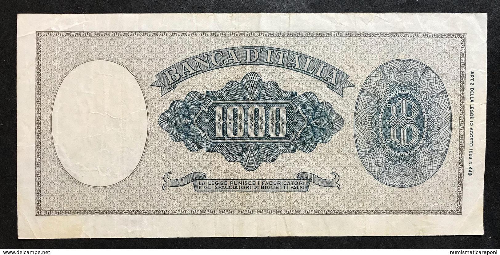 1000 LIRE Italia Medusa 11 02 1949 Raro Bb Naturale LOTTO 519 - [ 2] 1946-… : République