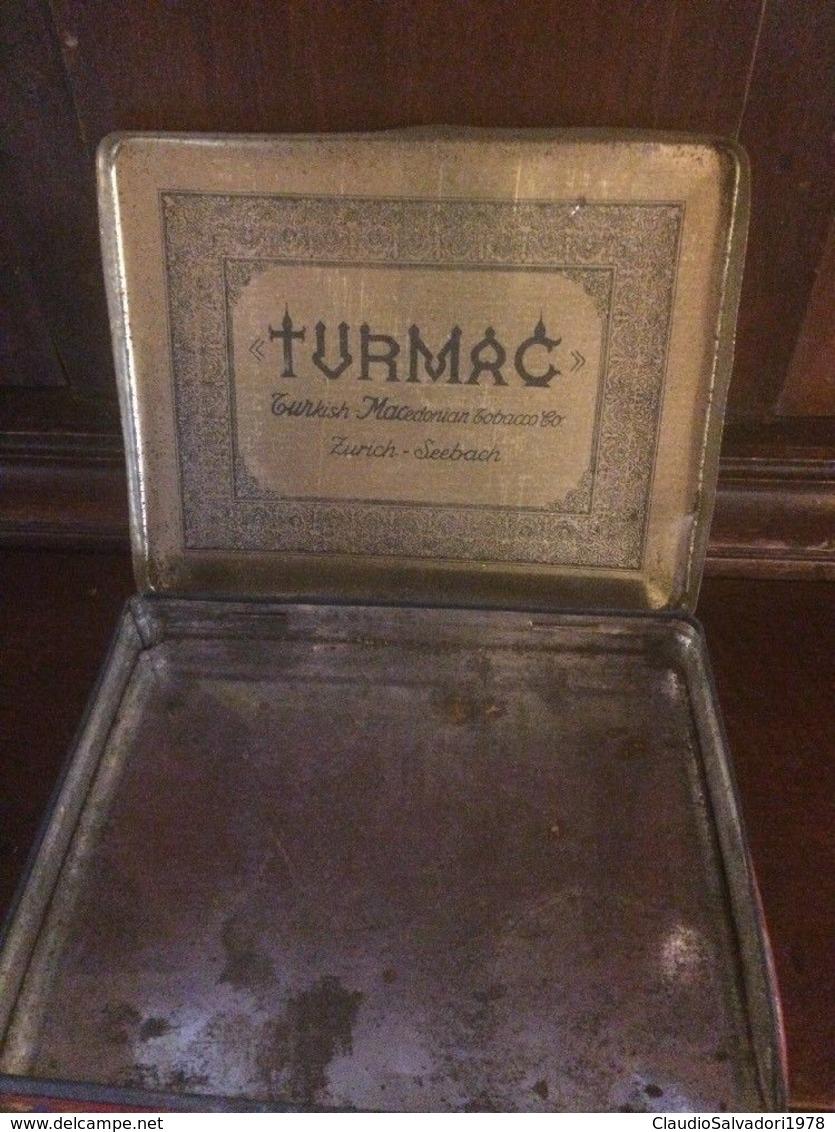 Vecchia SCATOLA DI LATTA SIGARETTE, TURMAC Orange Zurigo Seebach Svizzera - Contenitori Di Tabacco (vuoti)