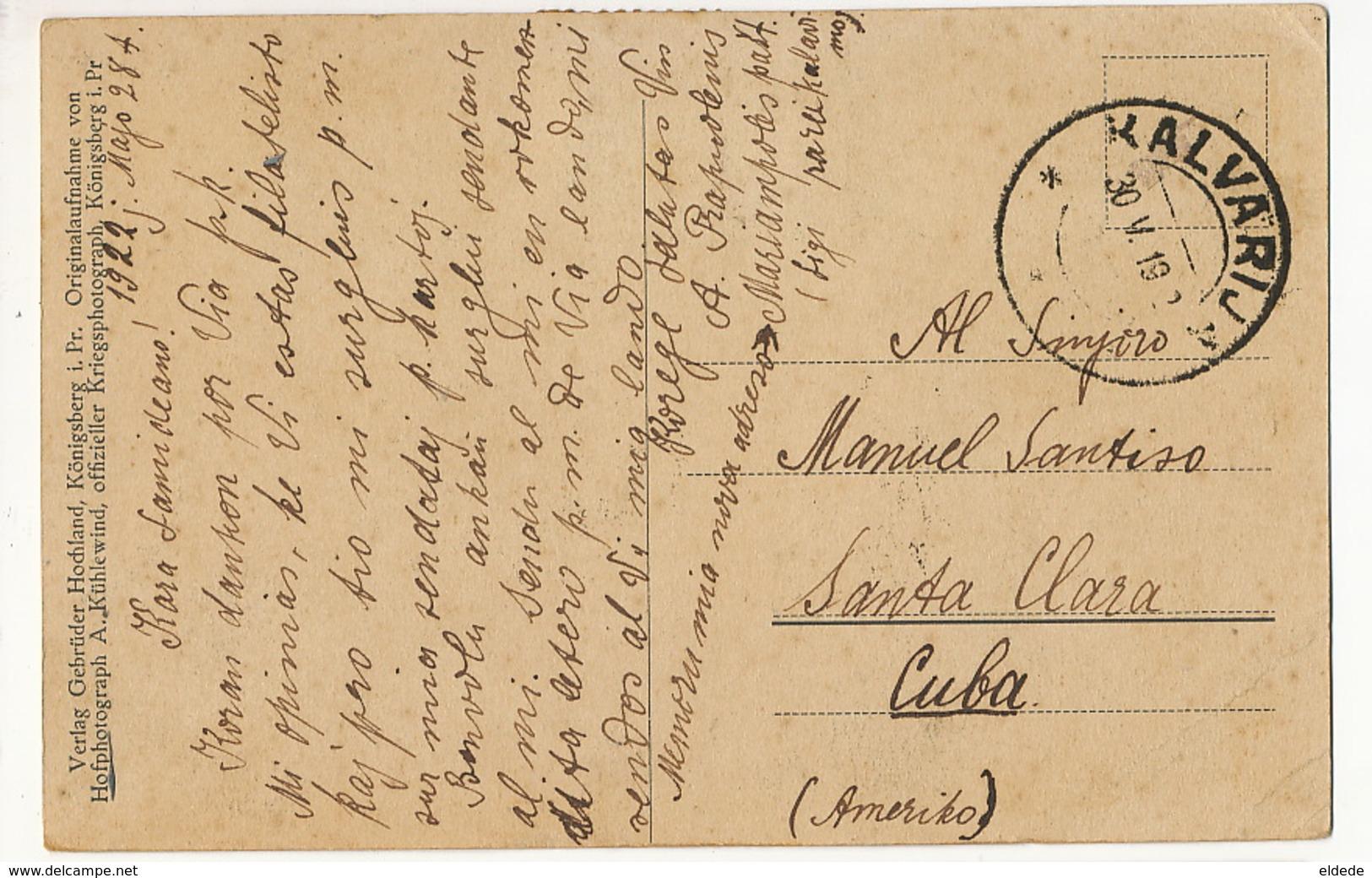 Totalansicht Von Kalvarja P. Used 2 Stamps  To Santa Clara Cuba  EDit  Konigsberg 1919 Esperanto - Lituanie