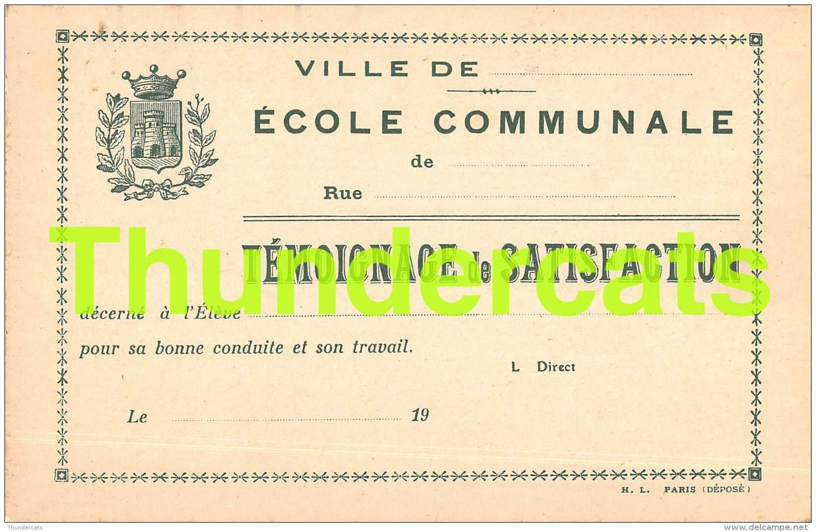 CPA LITHO ART NOUVEAU ECOLE COMMUNALE TEMOIGNAGE DE SATISFACTION H L PARIS ENFANTS CHILDREN - School