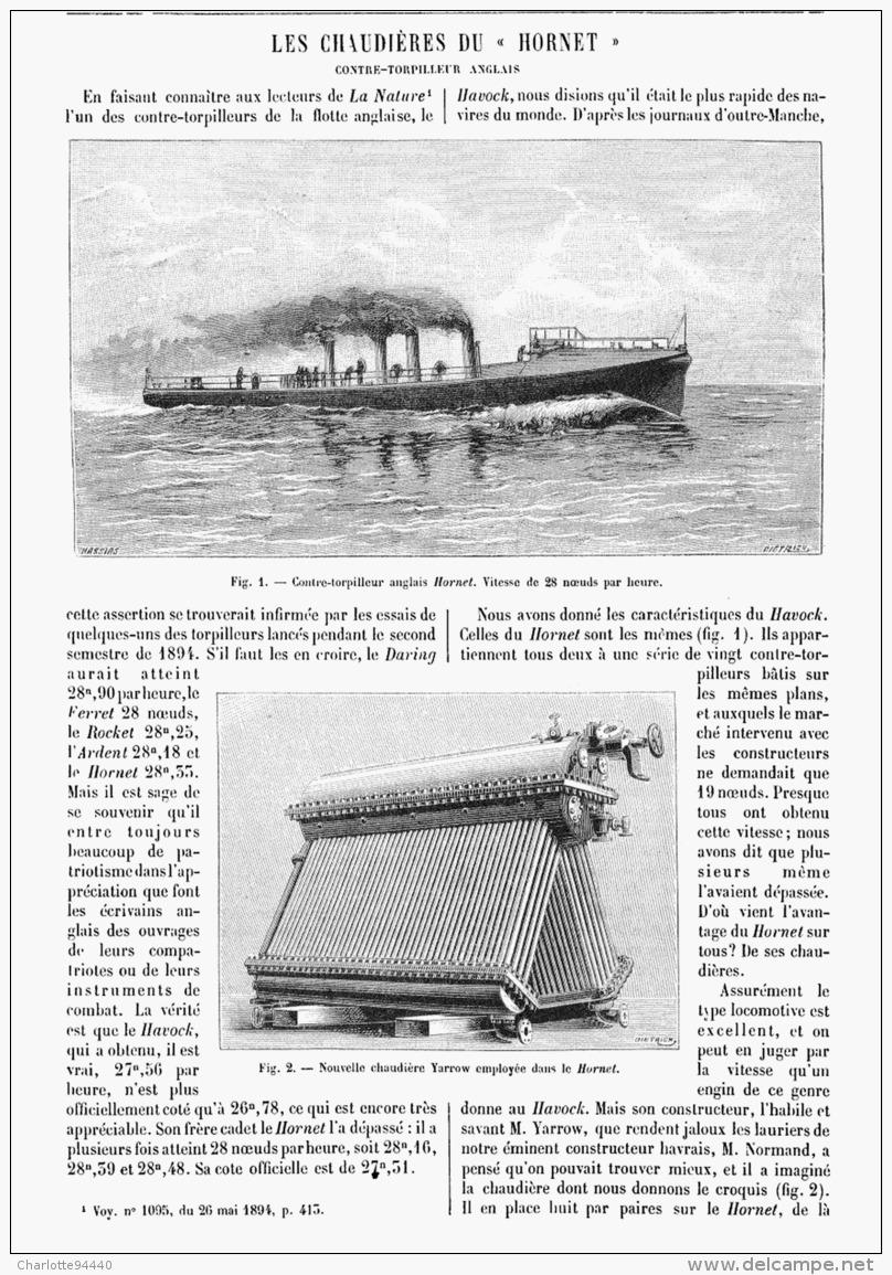 """LES CHAUDIERES Du """" HORNET """" CONTRE-TORPILLEUR ANGLAIS  1895 - Unclassified"""