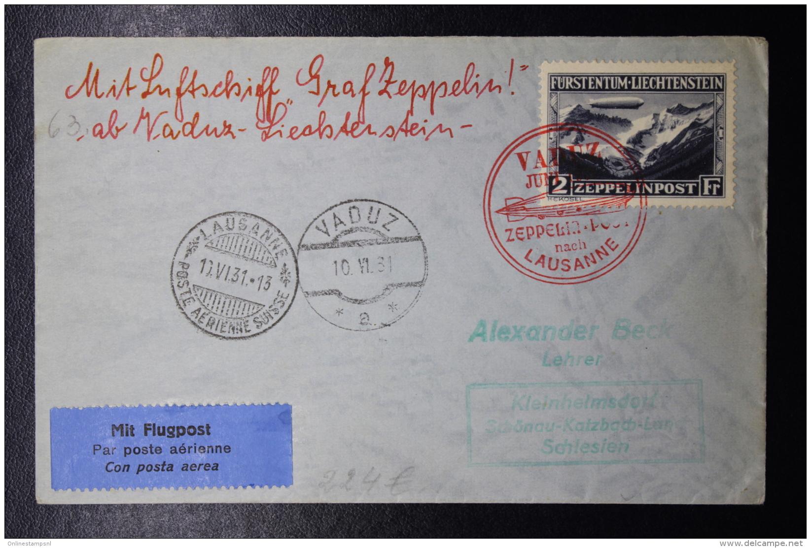 Liechtenstein: Graf Zeppelin  Sieger 110 B , Vaduz -> Lausanne -> Schlesien  Fahrt  Triesenberg  Mi 115 1931 - Briefe U. Dokumente