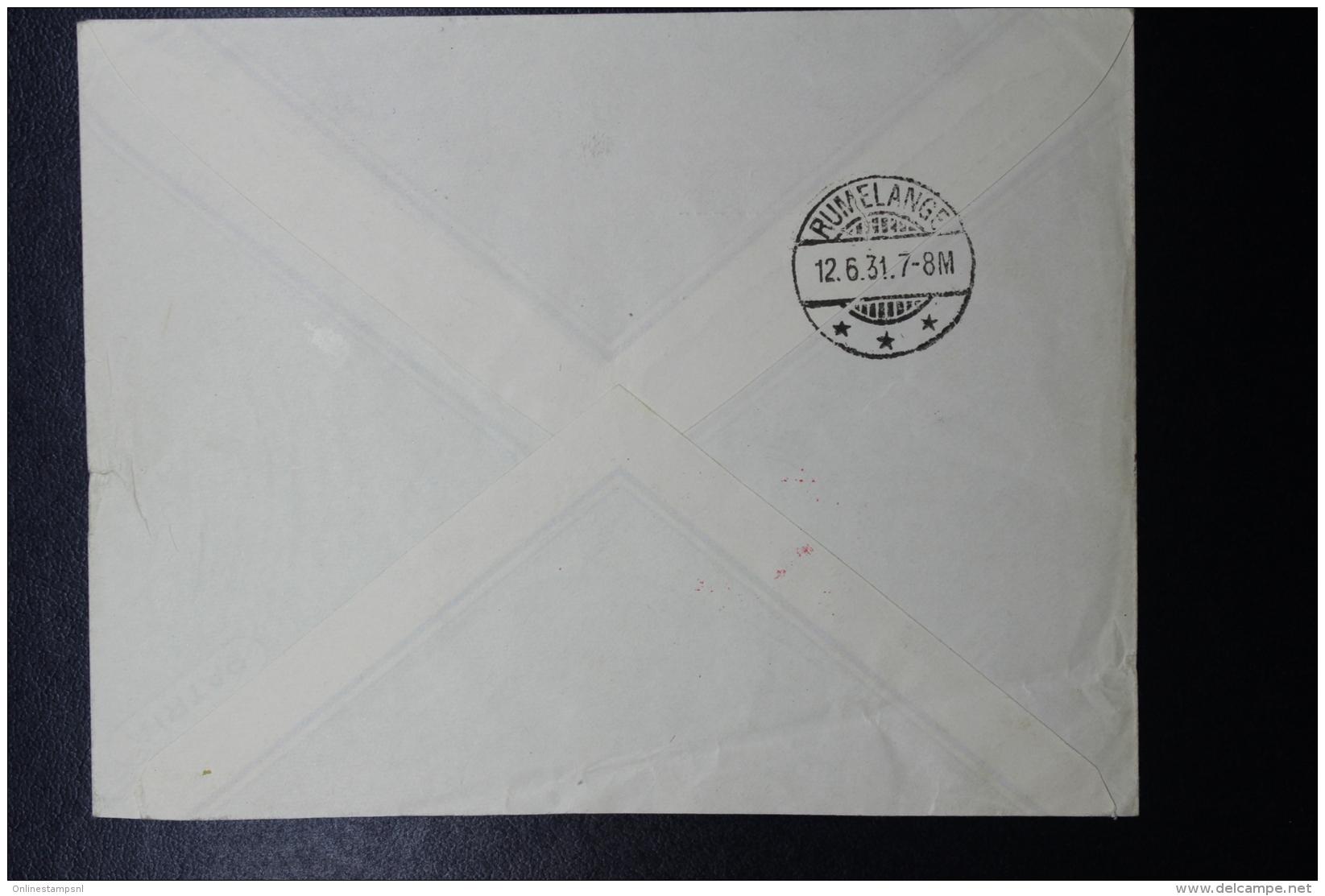 Liechtenstein: Graf Zeppelin  Sieger 110 C , Vaduz -> Lausanne -> Rumelange  Mi 114  + 115 1931 - Briefe U. Dokumente