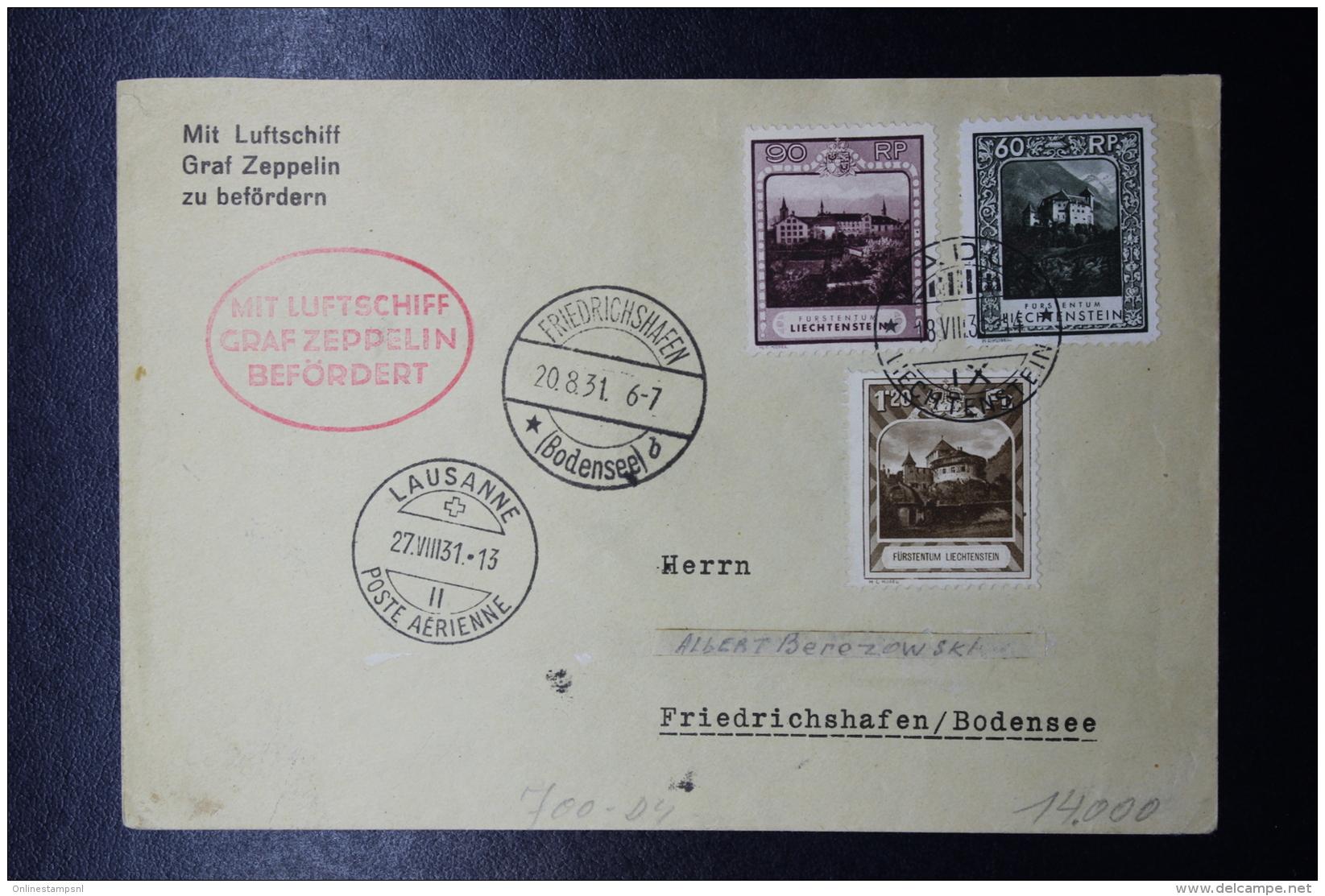 Liechtenstein: Graf Zeppelin  Sieger 123 , Vaduz -> Friedrichshafen  Mi 103 + 104 + 105 - Liechtenstein