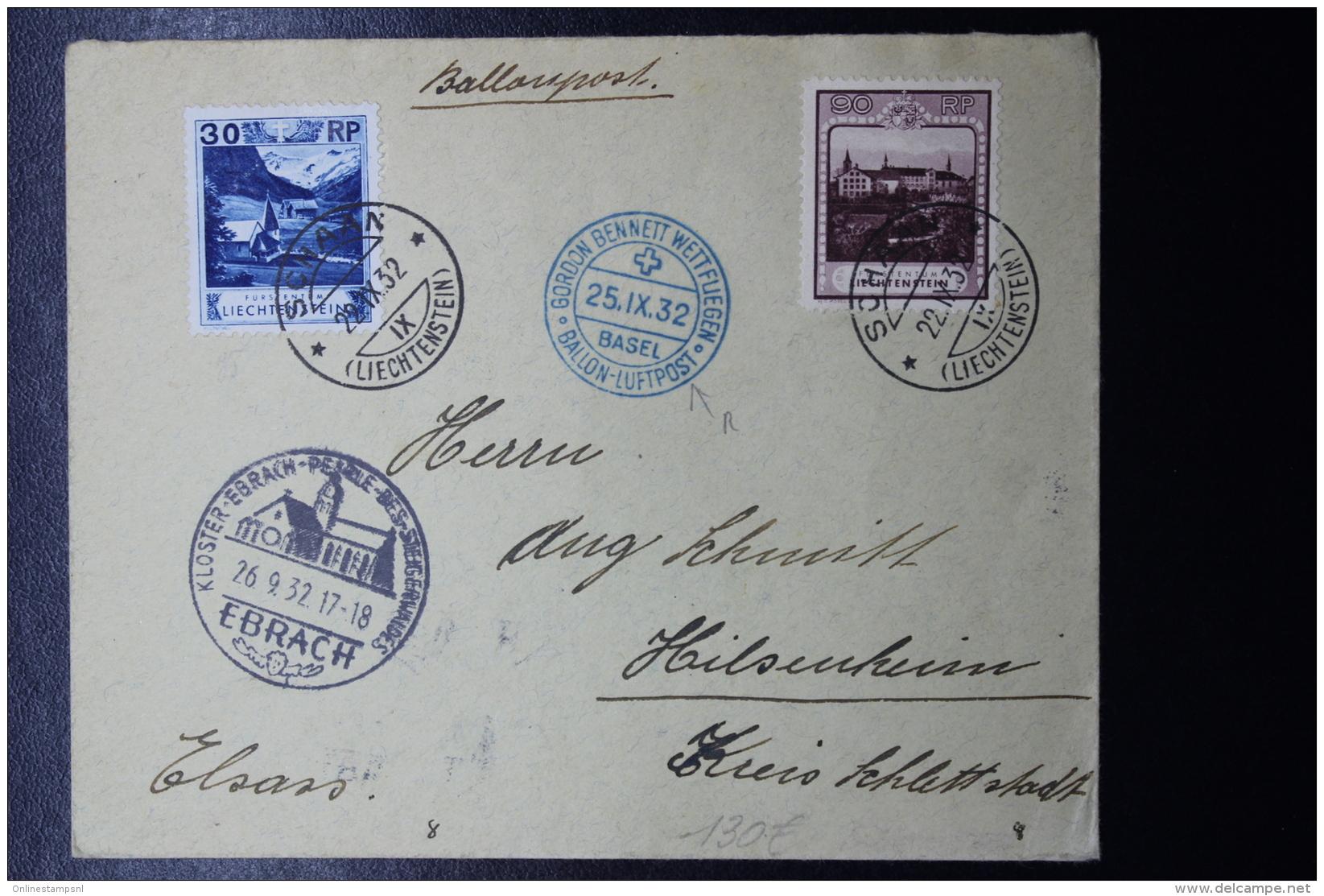 Liechtenstein: Ballonpost  1932 GORDON BENNETT  Basel -> Ebrach   Mi 99 + 104  Mi Fl Nr 42 - Briefe U. Dokumente
