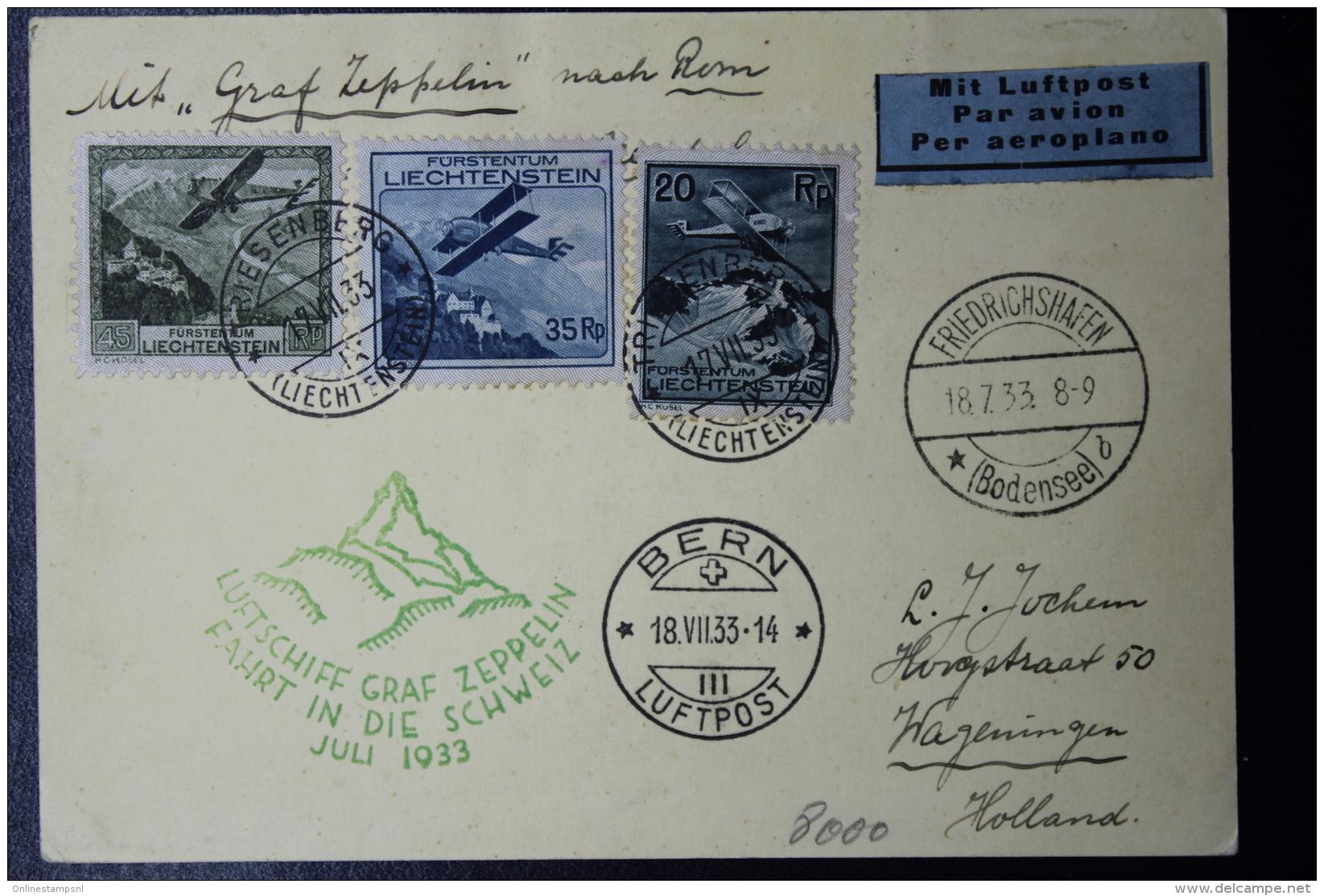 Liechtenstein: Graf Zepplein  Sieger 321 Fahrt In Der Schweiz  Mi 109 + 111 + 112  1933  Mi Fl. 70 CV 1000 Euro - Briefe U. Dokumente
