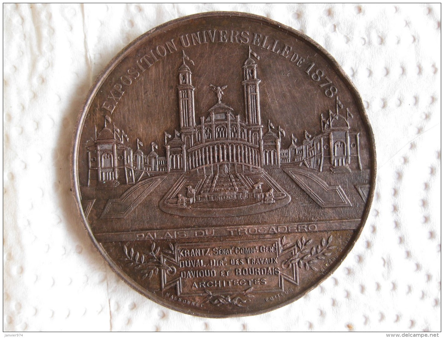 Médaille Exposition Universelle  Internationle  1878 Champs De Mars, Palais Du Trocadéro, Par Massonnet - France