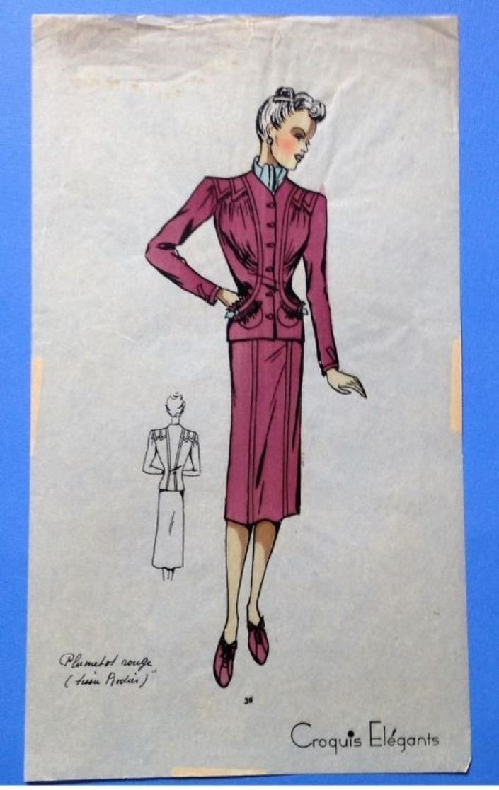 Ancien Pochoir Croquis Patron Mode Aquarellé  1940 Tailleur Rouge Tissu Rodier - Drawings
