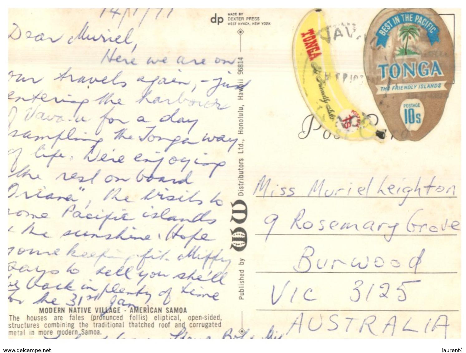 (215) American Samoa To Australia Postcard - Modern Native Village (but Posted With Tonga Stamps) - Samoa Americana