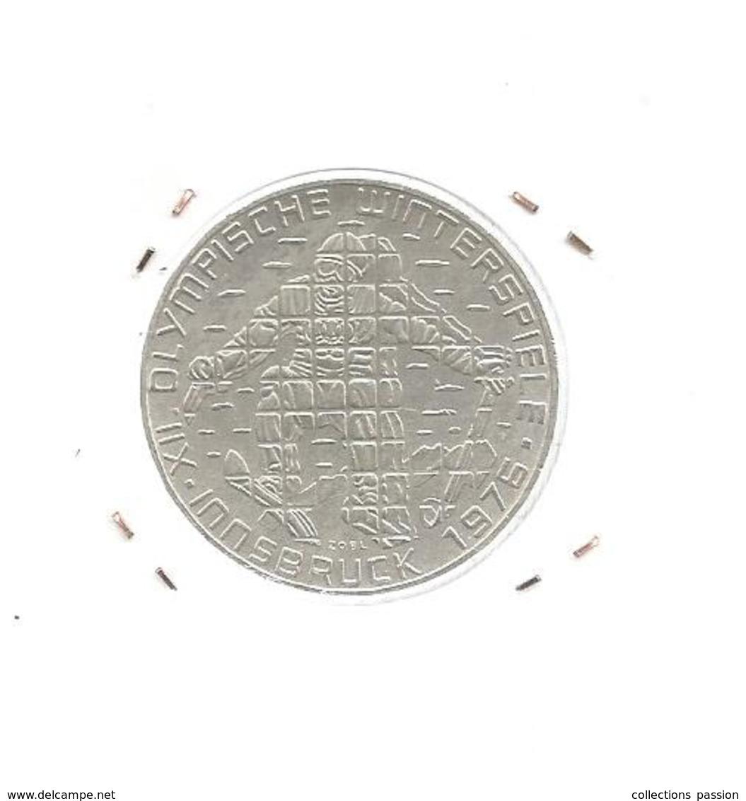 Monnaie, AUTRICHE , Republik OSTERREICH , 100 Schilling ,INNSBRUCK 1976, Ski , Argent ,4 Scans, Frais Fr 2.95 E - Autriche