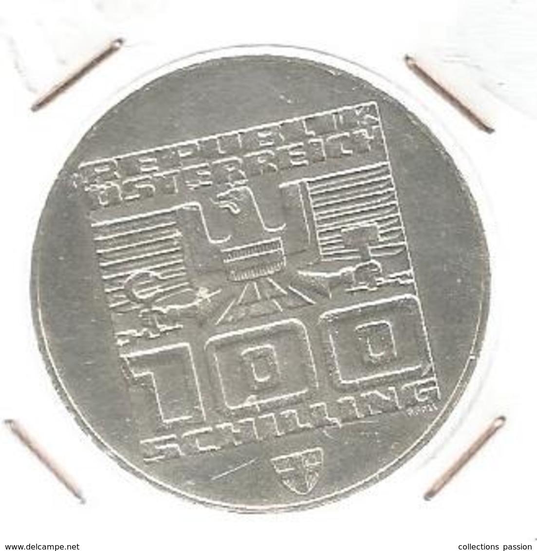 Monnaie, AUTRICHE, Republik OSTERREICH, 100 Schilling ,INNSBRUCK 1976,bergisel Schange, Argent ,4 Scans, Frais Fr 2.95 E - Autriche
