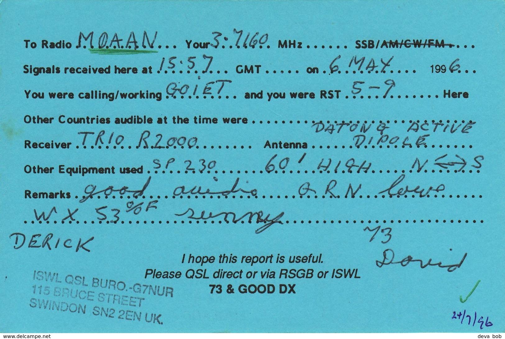 Amateur Radio QSL Card G17001 BRS88773 1996 Cat Whisker Hornchurch Blowers - Radio Amateur
