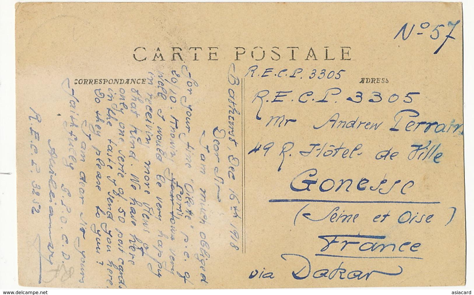 C.M.C. 6 Village Nègre Sur Les Bords De La Gambie  P. Used Bathurst Deltiology  RECP Oilette To Gonesse - Gambie
