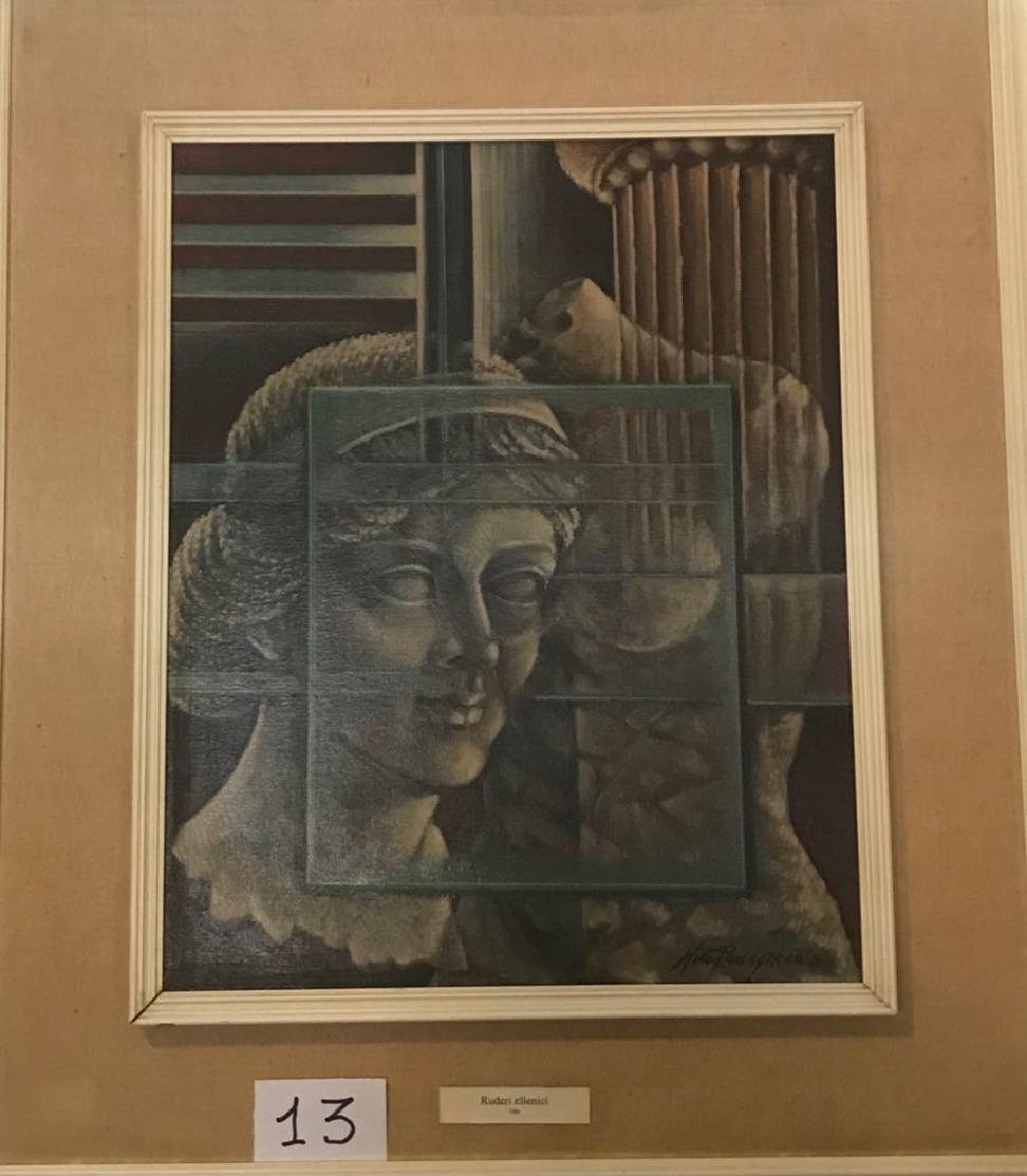 OPERA DELL'ARTISTA NINO PARLAGRECO NEO FIGURATIVO IN ACRILICO 50X40 1980 RUDERI ELLENICI - Acrilici