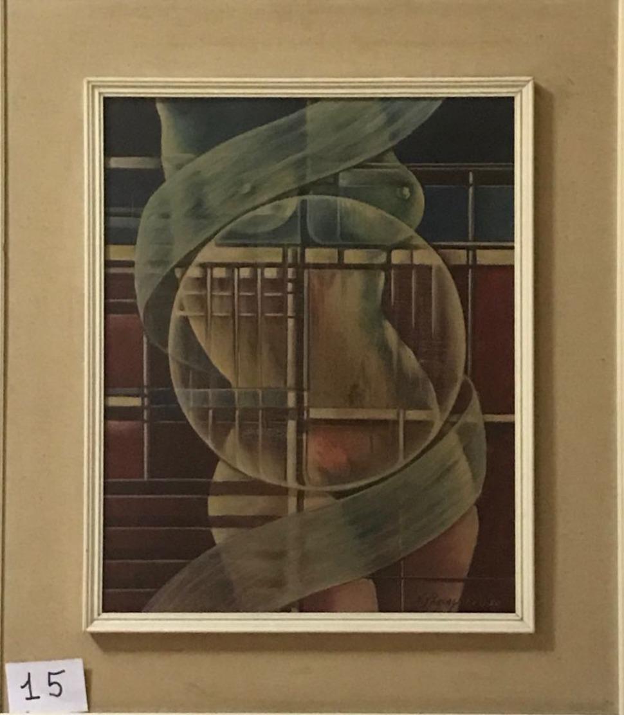 OPERA DELL'ARTISTA NINO PARLAGRECO NEO FIGURATIVO IN ACRILICO 50X40 1980 NUDO - Acrilici