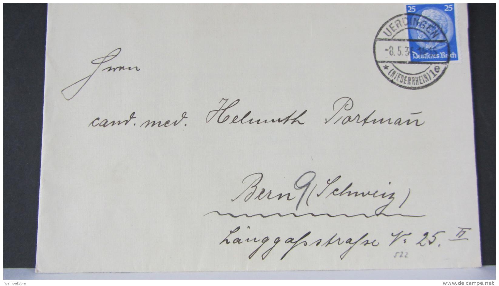 DR Bis 32: Ausl-Brief Mit 25 Pf Hindenburg Aus UERDINGEN (Niederrhein) Vom 8.5.34 Nach Bern (Schweiz) Knr: 522 - Briefe U. Dokumente