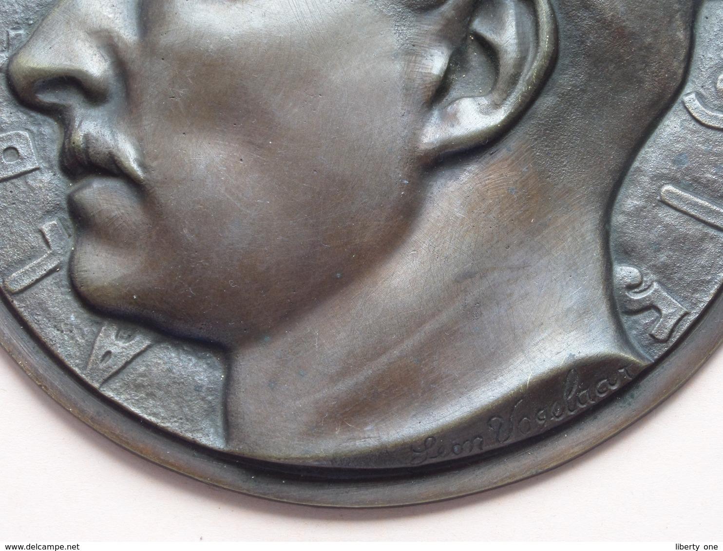 ALBERT 1er - 1915 ( Leon VOGELAAR ) *** ( Plaque Koper/Brons +/- 15 Cm. ) Prop. REY Frères Bruxelles +/- 470 Gr. ! - Bronzes